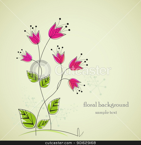 flowers stock vector clipart, separate drawing flowers with space for text by Miroslava Hlavacova