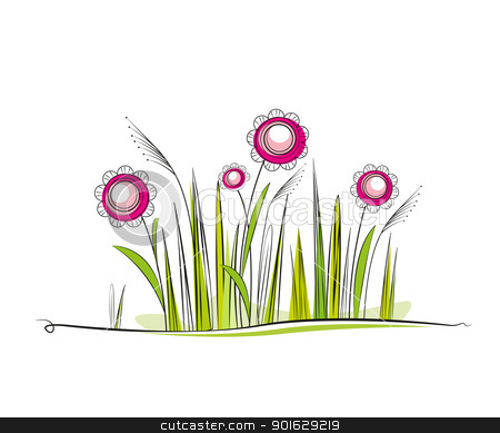 spring stock vector clipart, grassy meadow with flowers, place for text by Miroslava Hlavacova