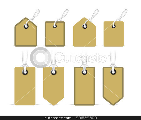 Price tags. Vector stock photo, Price tags with realistic rope. Vector illustration by sermax55