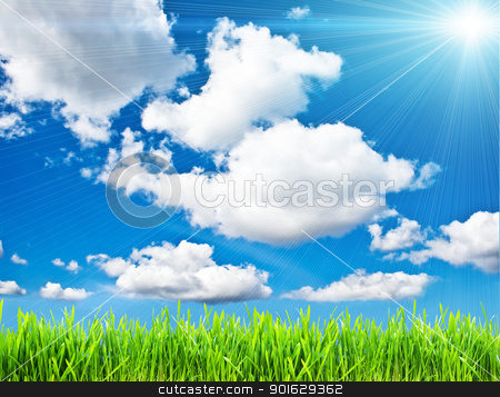 Summer background stock photo, Fresh green grass under blue sky by Alexey Popov