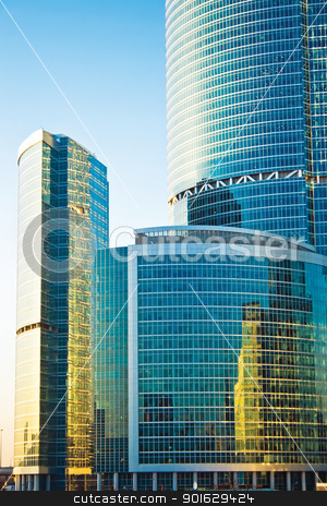 Skyscrapers at sunset stock photo, Skyscrapers of the International Business Centre, Moscow by Alexey Popov