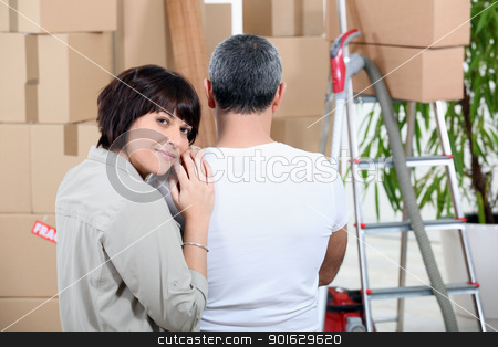 Couple moving house stock photo, Couple moving house by photography33
