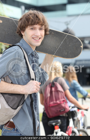 teenager with skateboard stock photo, teenager with skateboard by photography33