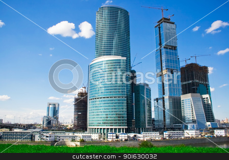 skyscrapers construction stock photo, construction of new skyscrapers in the International Business Centre, Moscow by Alexey Popov