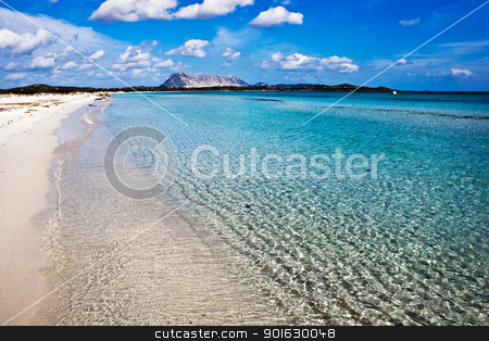 Sardinia stock photo, Clear sea and sandy beach La Cinta, Sardinia, Italy by Alexey Popov