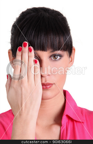 Woman covering half of her face with hand stock photo, Woman covering half of her face with hand by photography33