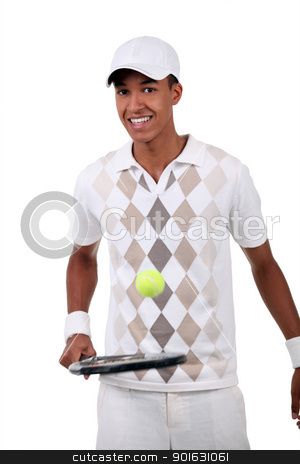 Tennis player with racket stock photo, Tennis player with racket by photography33