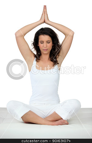 Woman in yoga position stock photo, Woman in yoga position by photography33