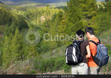 a couple hiking in the mountains stock photo, a couple hiking in the mountains by photography33