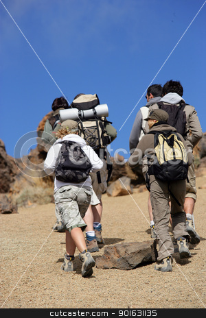 Group of hikers stock photo, Group of hikers by photography33
