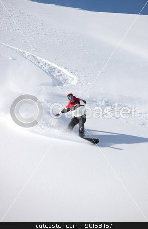 Man snowboarding on isolated piste stock photo, Man snowboarding on isolated piste by photography33