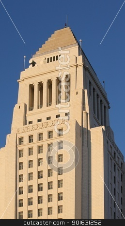 Los Angeles City Hall stock photo, Los Angeles city hall in downtown. by Henrik Lehnerer