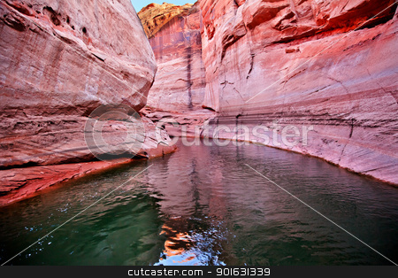Pink Antelope Slot Canyon Reflection Lake Powell Arizona stock photo, Pink Antelope Slot Canyon Water Reflection Glen Canyon Recreation Area Lake Powell Arizona by William Perry