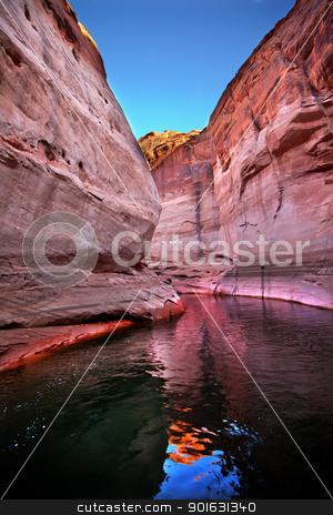 Pink Antelope Slot Canyon Reflection Lake Powell Arizona stock photo, Pink Antelope Slot Canyon Water Reflection Glen Canyon Recreation Area Lake Powell Arizona by William Perry