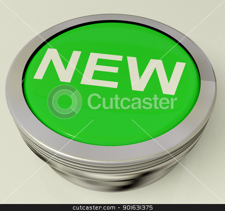 Icon Or Button Showing The Text New stock photo, Icon Or Green Button Showing The Text New by stuartmiles