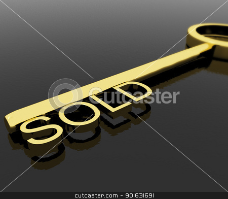 Key With Sold Text As Symbol For Buying A Property stock photo, Gold Key With Sold Text As Symbol For Buying A Property by stuartmiles