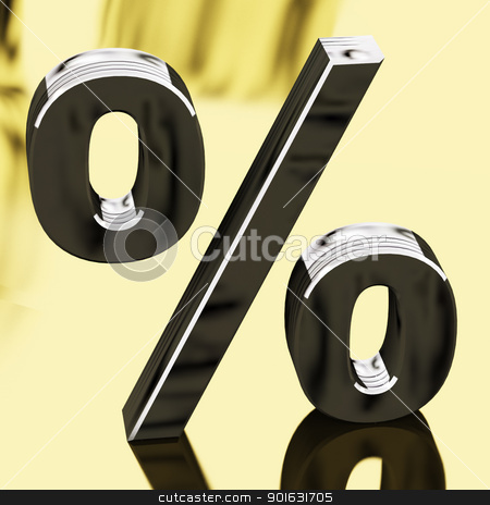 Silver Percentage Sign Representing Finance And Interest stock photo, Silver Percentage Sign On Gold Background Representing Finance And Interest by stuartmiles
