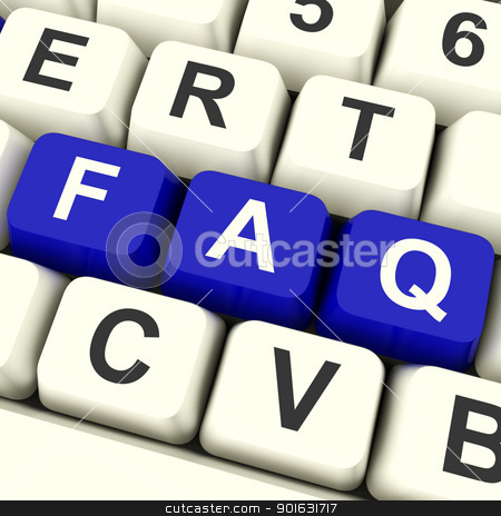 FAQ Computer Keys In Blue Showing Information stock photo, FAQ Computer Keys In Blue Showing Information And Answer by stuartmiles
