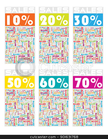 Sales card stock vector clipart, Sale card collection with discount percent over white background by Richard Laschon