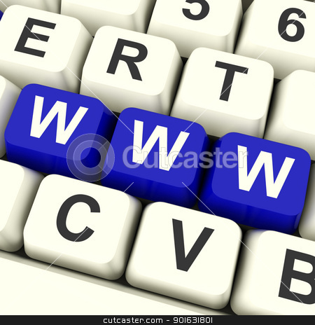 Www Computer Keys Showing Online Websites Or Internet stock photo, Www Computer Keys In Blue Showing Online Websites Or Internet by stuartmiles