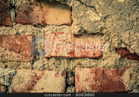 toned brick wall grunge background or texture stock photo, toned red brick wall grunge background or texture by Artush