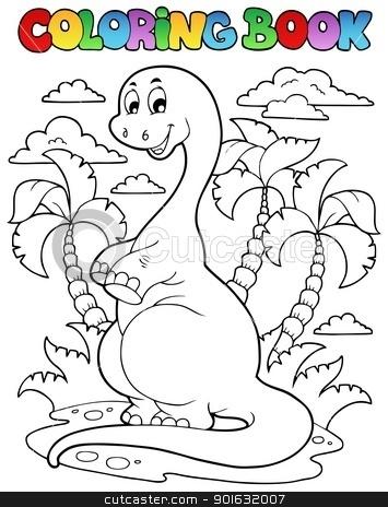 Coloring book dinosaur scene 2 stock vector clipart, Coloring book dinosaur scene 2 - vector illustration. by Klara Viskova