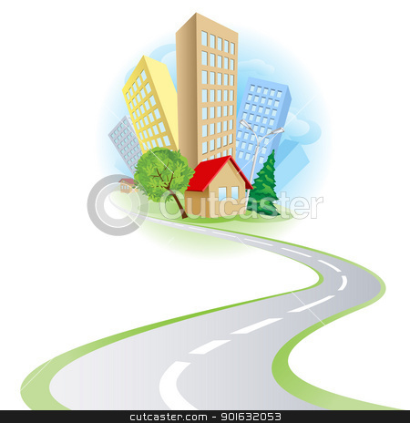 Townhouses cottages and the road stock photo, Townhouses, cottages and the road. Illustration on white background by dvarg