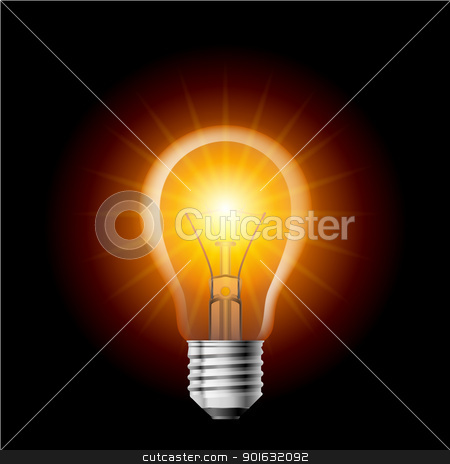 Light bulb stock photo, Light Filament lamp on a black background. Illustration for design by dvarg