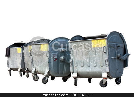 Garbage containers stock photo, Group of old metal garbage or trash containers.Isolated on white background by borojoint