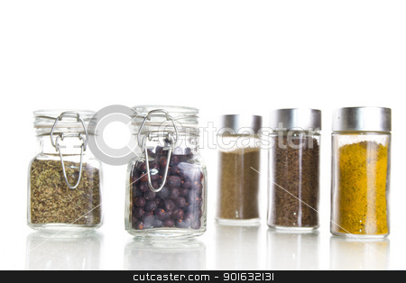 spices  stock photo, different spices on a white background by FranziskaKrause