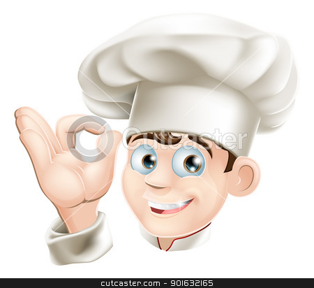 Smiling cartoon chef stock vector clipart, Illustration of a happy smiling cartoon chef in a chef hat by Christos Georghiou