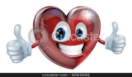 Heart mascot graphic stock vector clipart, A happy heart mascot smiling and giving a thumbs up by Christos Georghiou