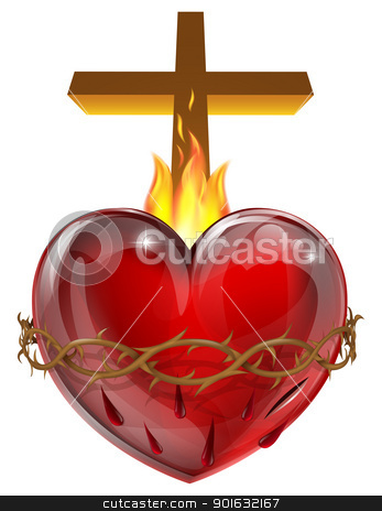 Sacred Heart stock vector clipart, Illustration of the Sacred Heart, representing Jesus Christ's divine love for humanity. by Christos Georghiou