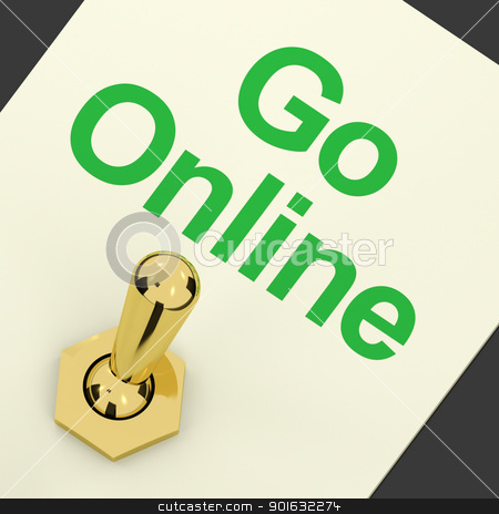 Go Online Switch For Online Websites Or Internet stock photo, Go Online Switch On For Online Websites Or Internet by stuartmiles