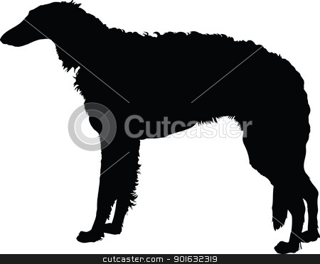 Borzoi stock vector clipart, A silhouette portrait, in profile, of a standing Borzoi dog. by Maria Bell