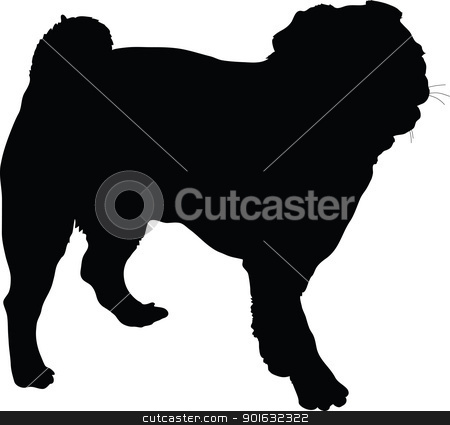 Pug Dog stock vector clipart, A silhouette portrait, in profile, of a standing Pug dog. by Maria Bell