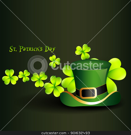 st patrick's day hat stock vector clipart, st. patrick's day hat with clover on background by pinnacleanimates