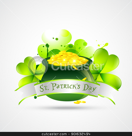 st. patricks day illustration stock vector clipart, vector st. patricks day cauldron with gold coins by pinnacleanimates
