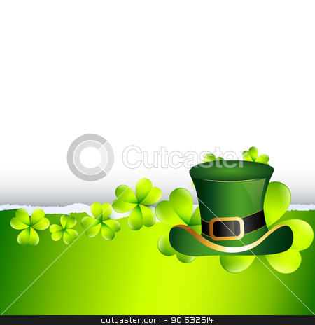 st patrick's day stock vector clipart, vector beautiful st patrick's day illustration with hat by pinnacleanimates