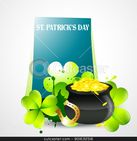 saint patricks day illustration stock vector clipart, vector saint patrick's day illustration with space for your text by pinnacleanimates