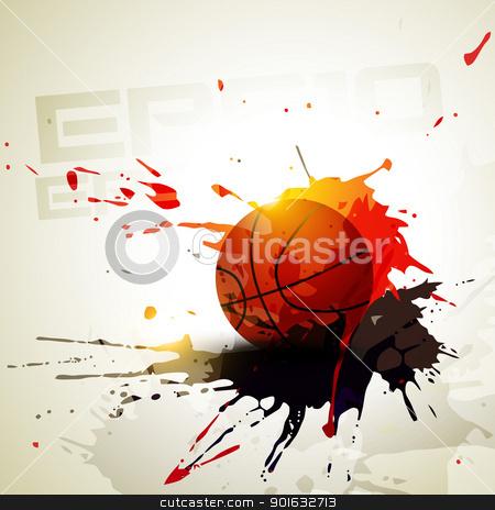 vector basketball stock vector clipart, vector basketball in grunge style by pinnacleanimates