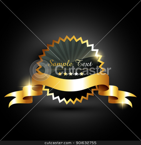 vector golden label stock vector clipart, luxuary style vector golden label by pinnacleanimates