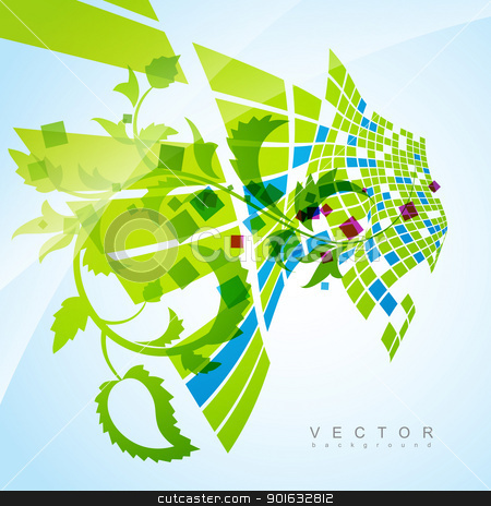 green mosaic background stock vector clipart, abstract style green mosaic background with leafs by pinnacleanimates