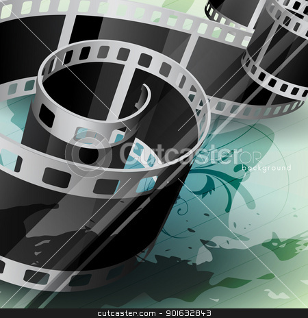 vector film reel stock vector clipart, vector film reel on abstarct style background by pinnacleanimates