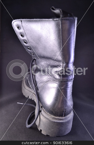 Old leather boot              stock photo, One old black leather boot by Seija Pekkarinen