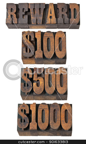 reward in western style type stock photo, reward word and 100, 500, 1000 dollar amounts - isolated text in vintage letterpress wood type - French Clarendon font popular in western movies and memorabilia by Marek Uliasz
