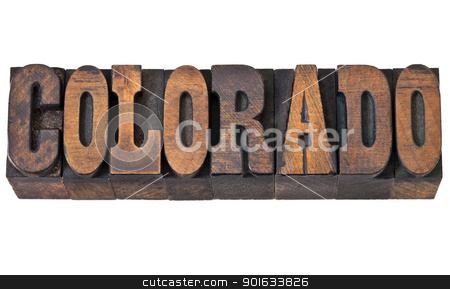 Colorado - western style type stock photo, Colorado - isolated word in vintage letterpress wood type - French Clarendon font popular in western movies and memorabilia by Marek Uliasz