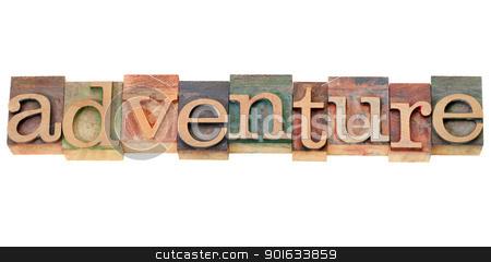 adventure word in letterpress type stock photo, adventure - isolated word in vintage  letterpress wood type by Marek Uliasz