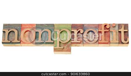 nonprofit word in letterpress type stock photo, nonprofit - isolated word in vintage  letterpress wood type by Marek Uliasz