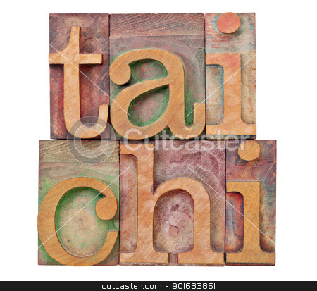tail chi in letterpress type stock photo, tail chi  - Chinese martial art - isolated text in vintage letterpress  wood type by Marek Uliasz